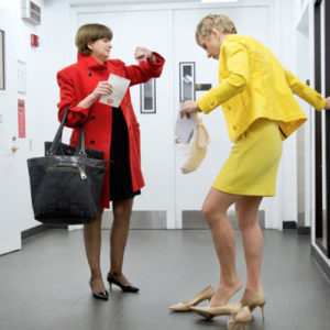 Gail Abrahamsen and Barbara Corcoran just after a Today show appearance, and changing heels for the journey to their next appointment, taken in November 2013. Photo by Gus Powell.