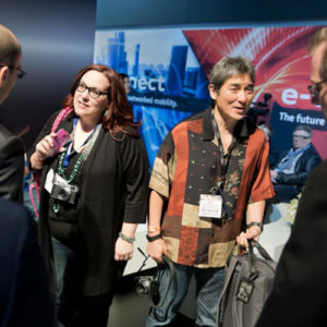 At the L.A. Auto Show's Audi exhibit: Peg Fitzpatrick with Guy Kawasaki, who was helping Audi with its social media, taken in November 2013. Photo by Gus Powell.