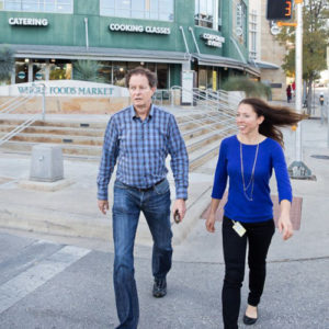 John Mackey and Evening Galvin outside the Whole Foods headquarters. Photo by Gus Powell.